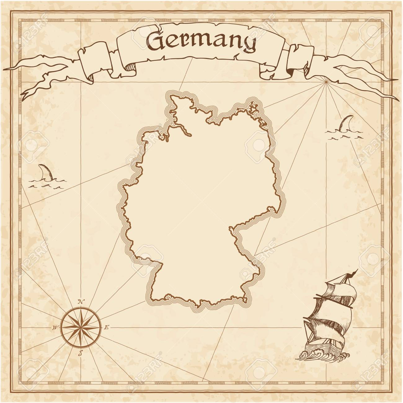 Germany Old Treasure Map. Sepia Engraved Template Of Pirate Map ...