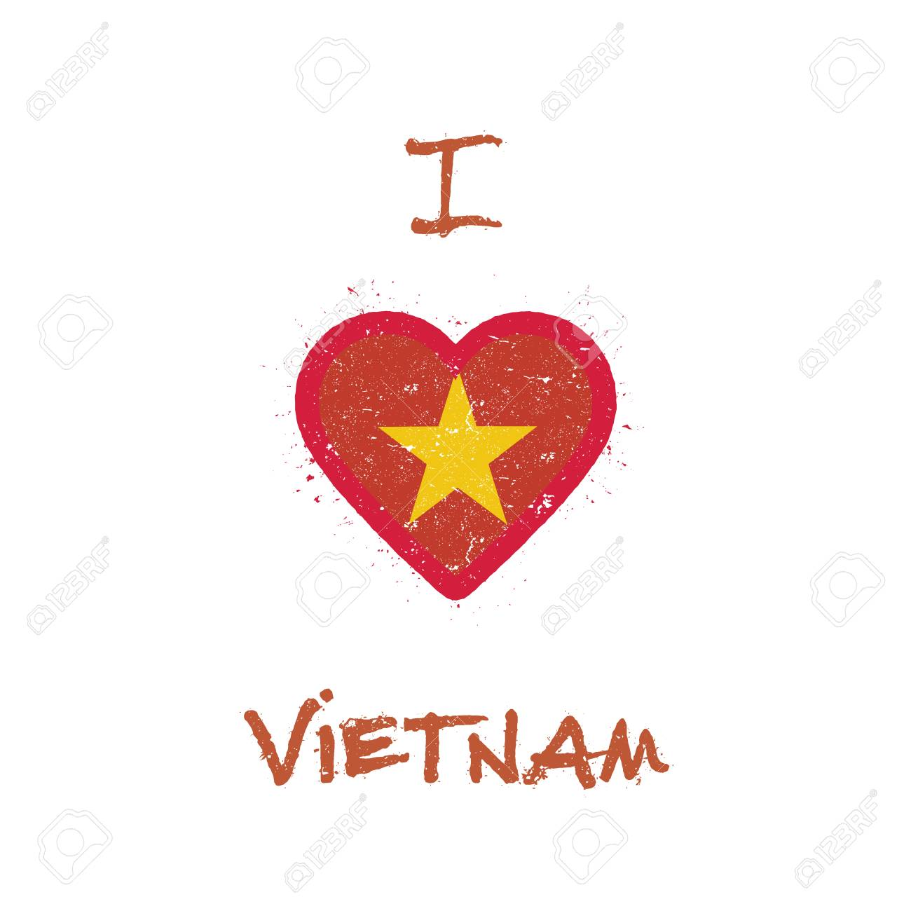 48f71e5b9fd I love Vietnam t-shirt design. Vietnamese flag in the shape of heart on