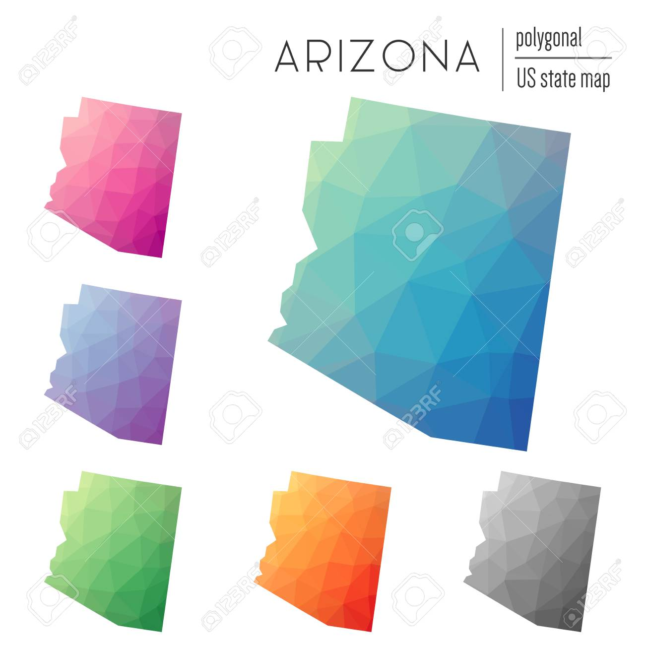 Set Of Vector Polygonal Arizona Maps Bright Gradient Map Of