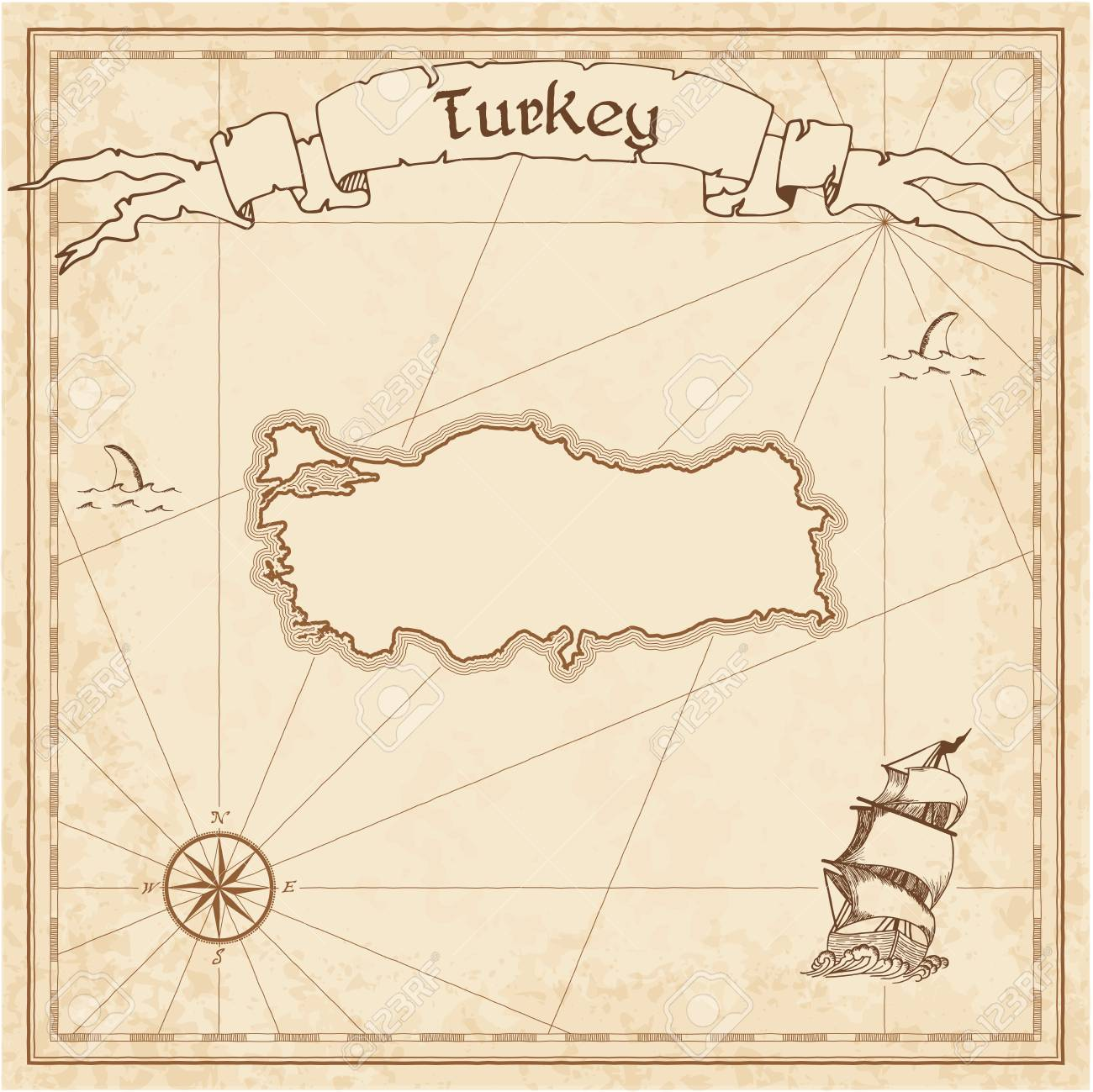 Turkey Old Treasure Map. Sepia Engraved Template Of Pirate Map ...