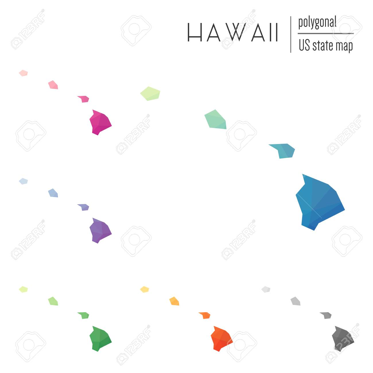 Set Of Vector Polygonal Hawaii Maps Bright Gradient Map Of The