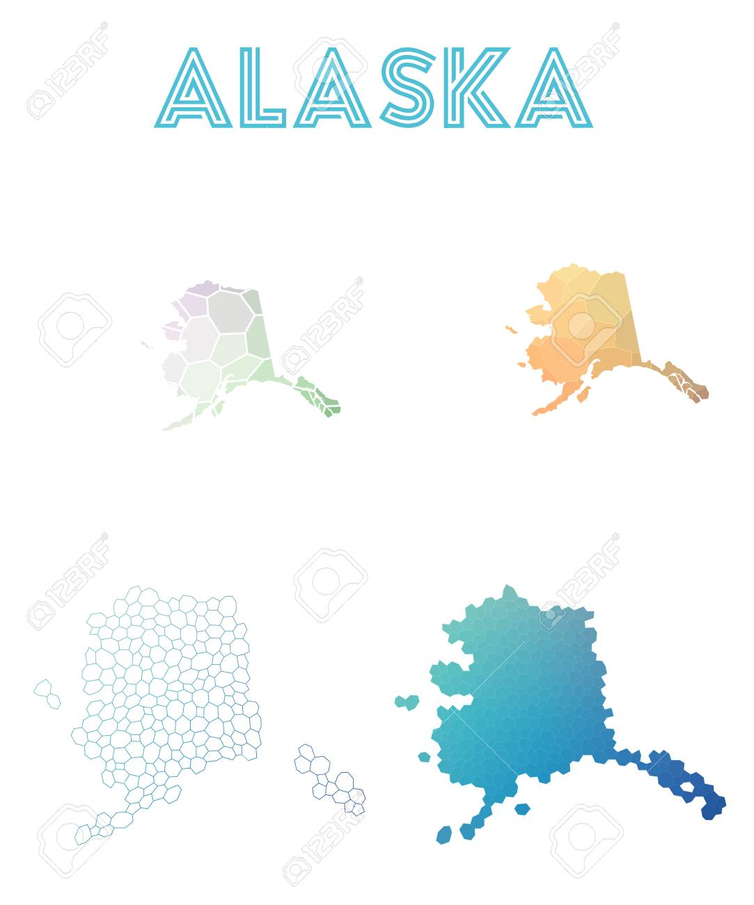 Alaska Polygonal Us State Map Mosaic Style Maps Collection - Us state map