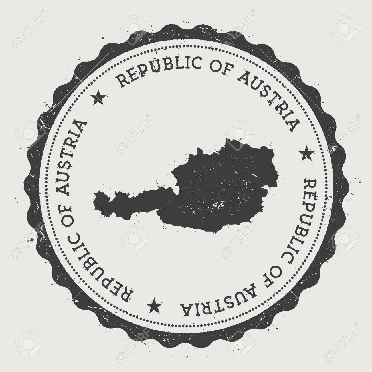 Austria Hipster Round Rubber Stamp With Country Map Vintage Passport Circular Text And