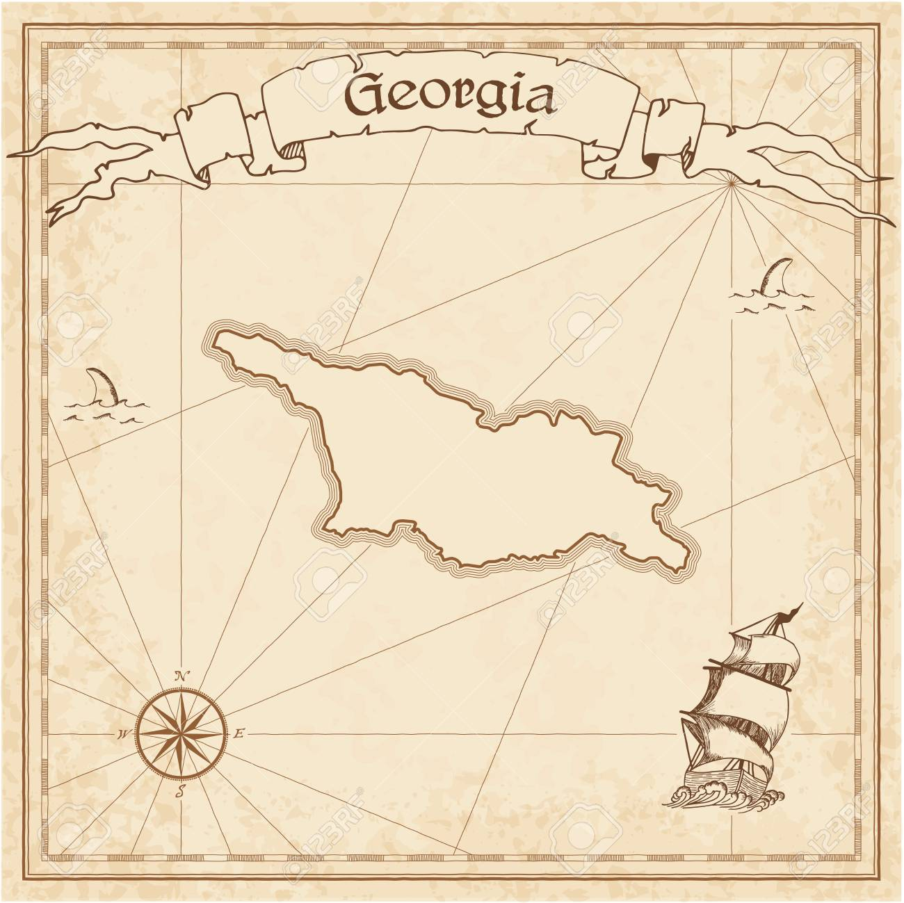 Map Of Old Georgia.Georgia Old Treasure Map Sepia Engraved Template Of Pirate Map