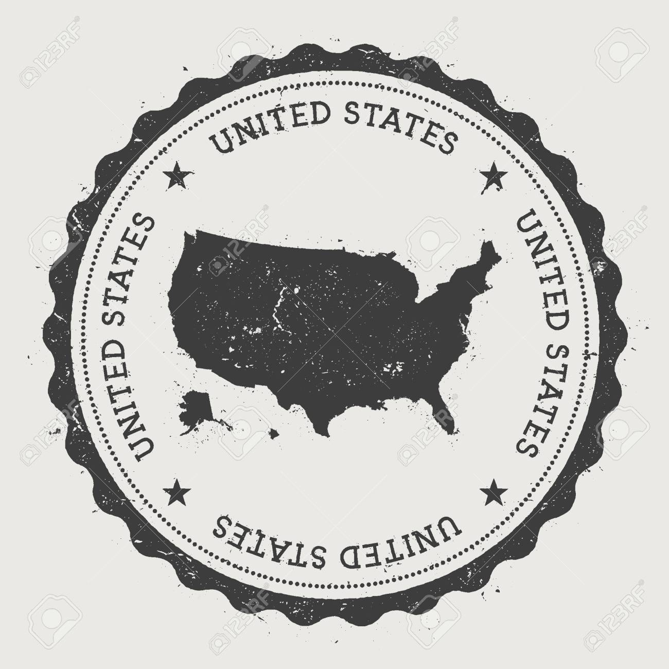 United States Hipster Round Rubber Stamp With Country Map Vintage Passport Circular Text