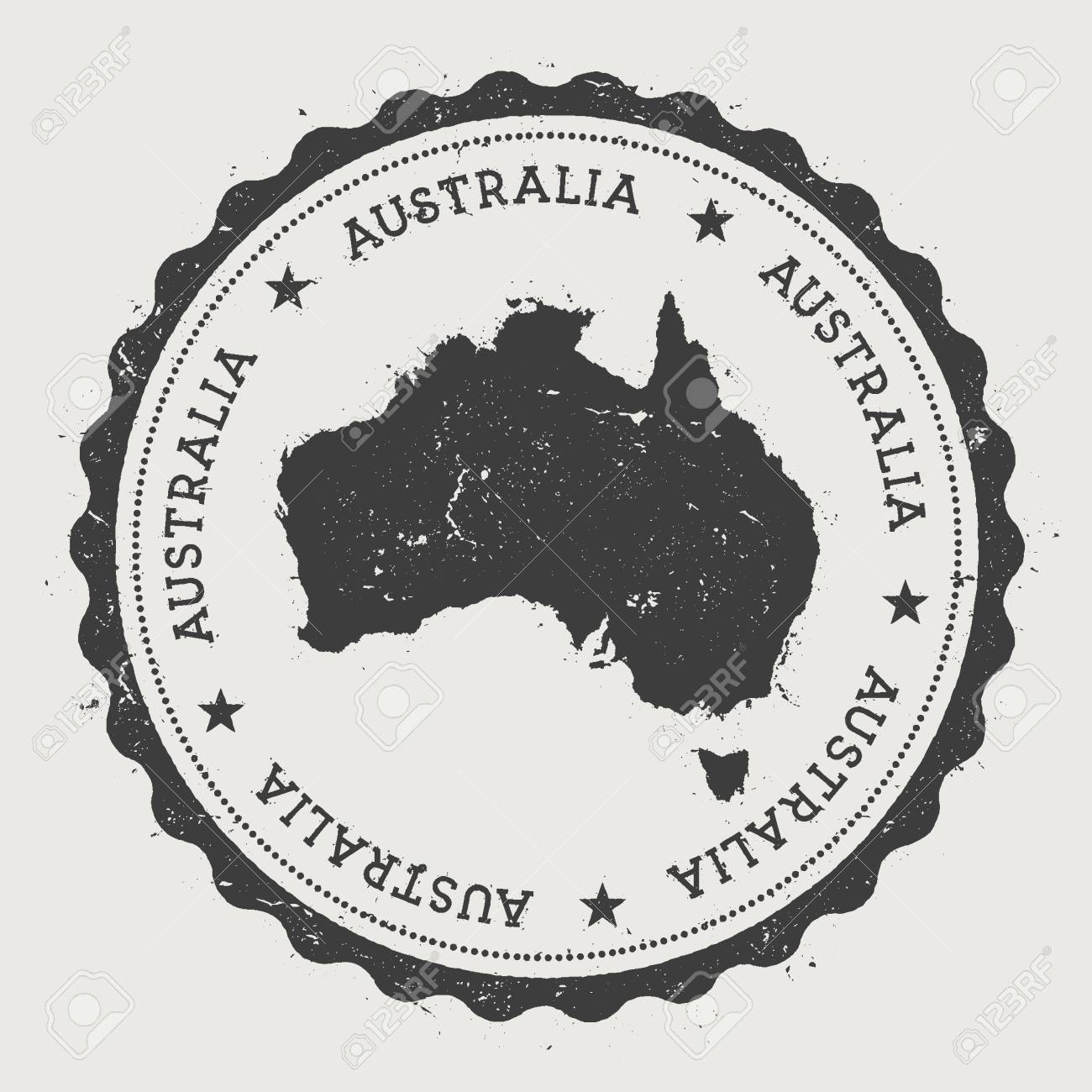Australia Hipster Round Rubber Stamp With Country Map Vintage Passport Circular Text And