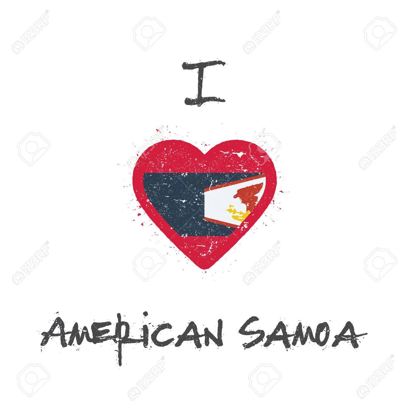 I Love American Samoa T Shirt Design American Samoan Flag In