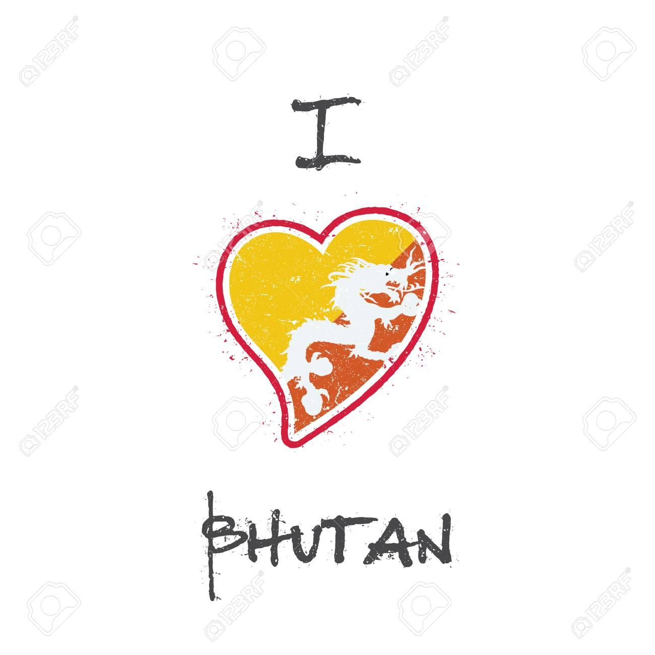 Bhutanese flag patriotic t-shirt design  Heart shaped national