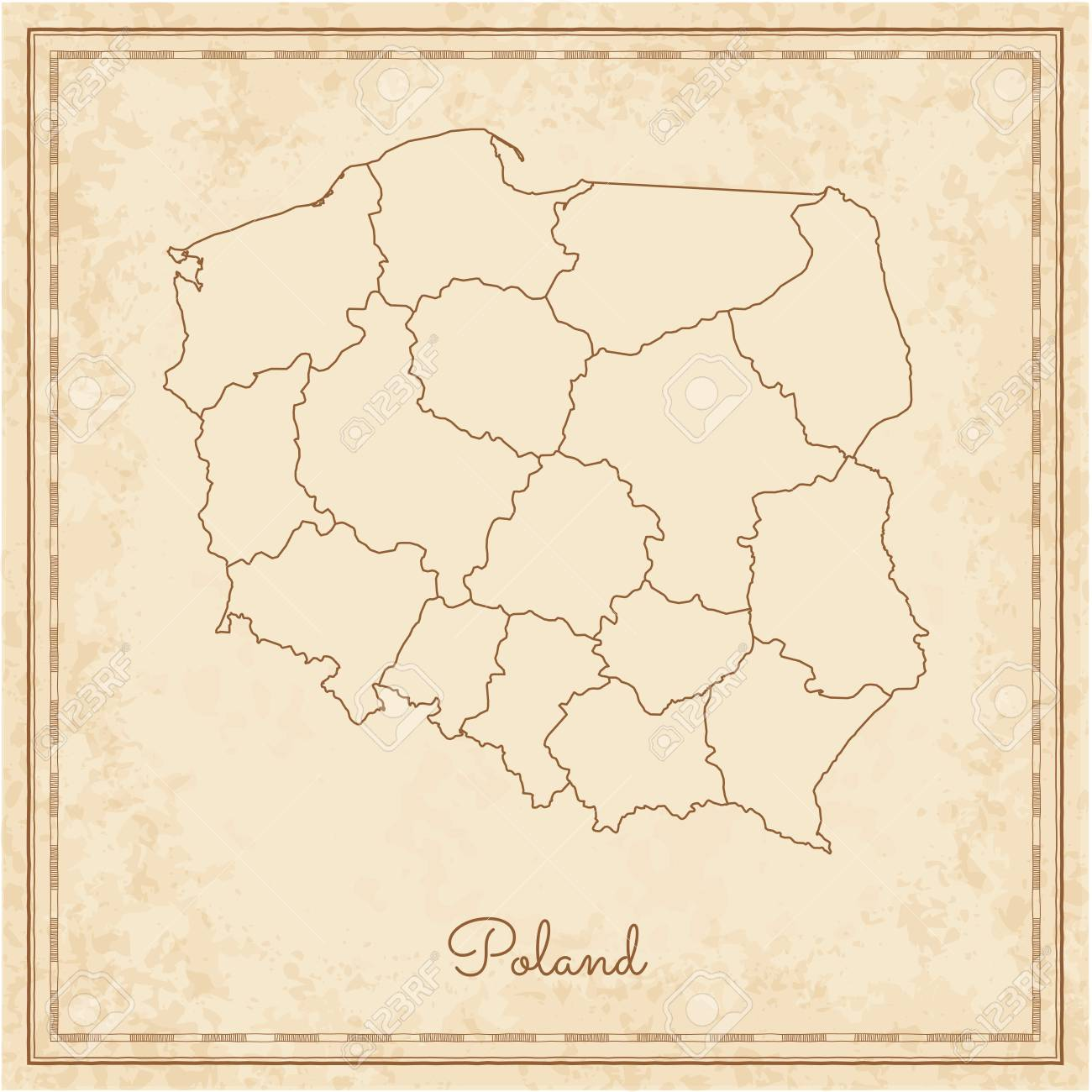 Poland Region Map Stylized Old Pirate Parchment Imitation Detailed