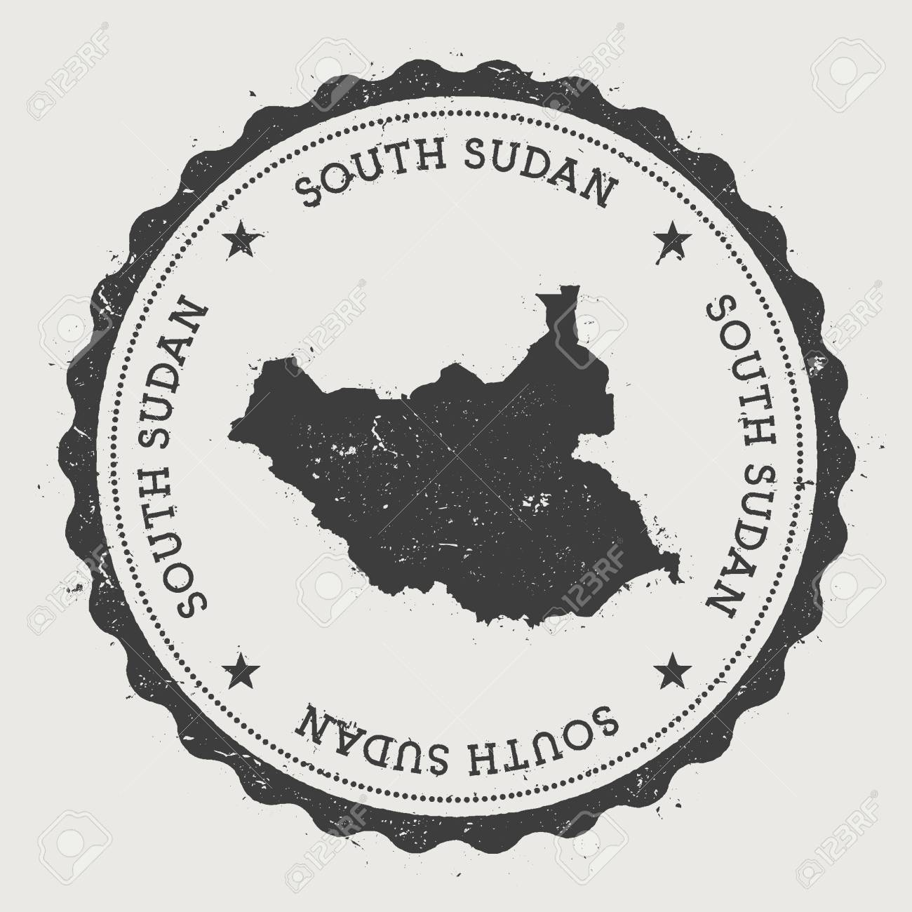 South Sudan hipster round rubber stamp with country map  Vintage