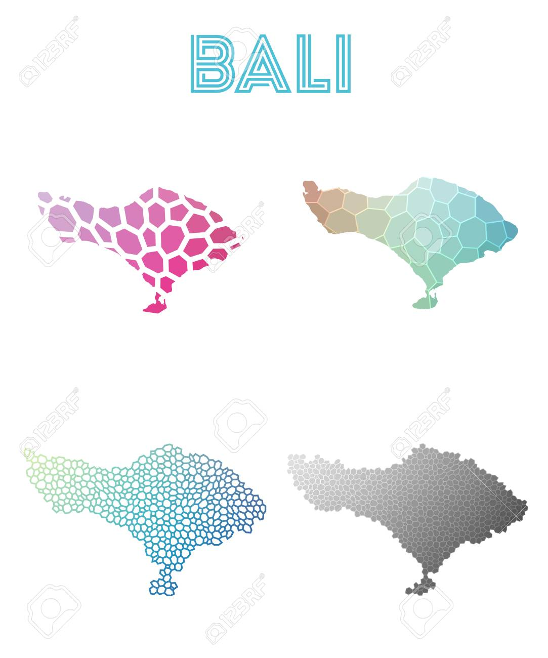 Bali Polygonal Island Map Mosaic Style Maps Collection Bright