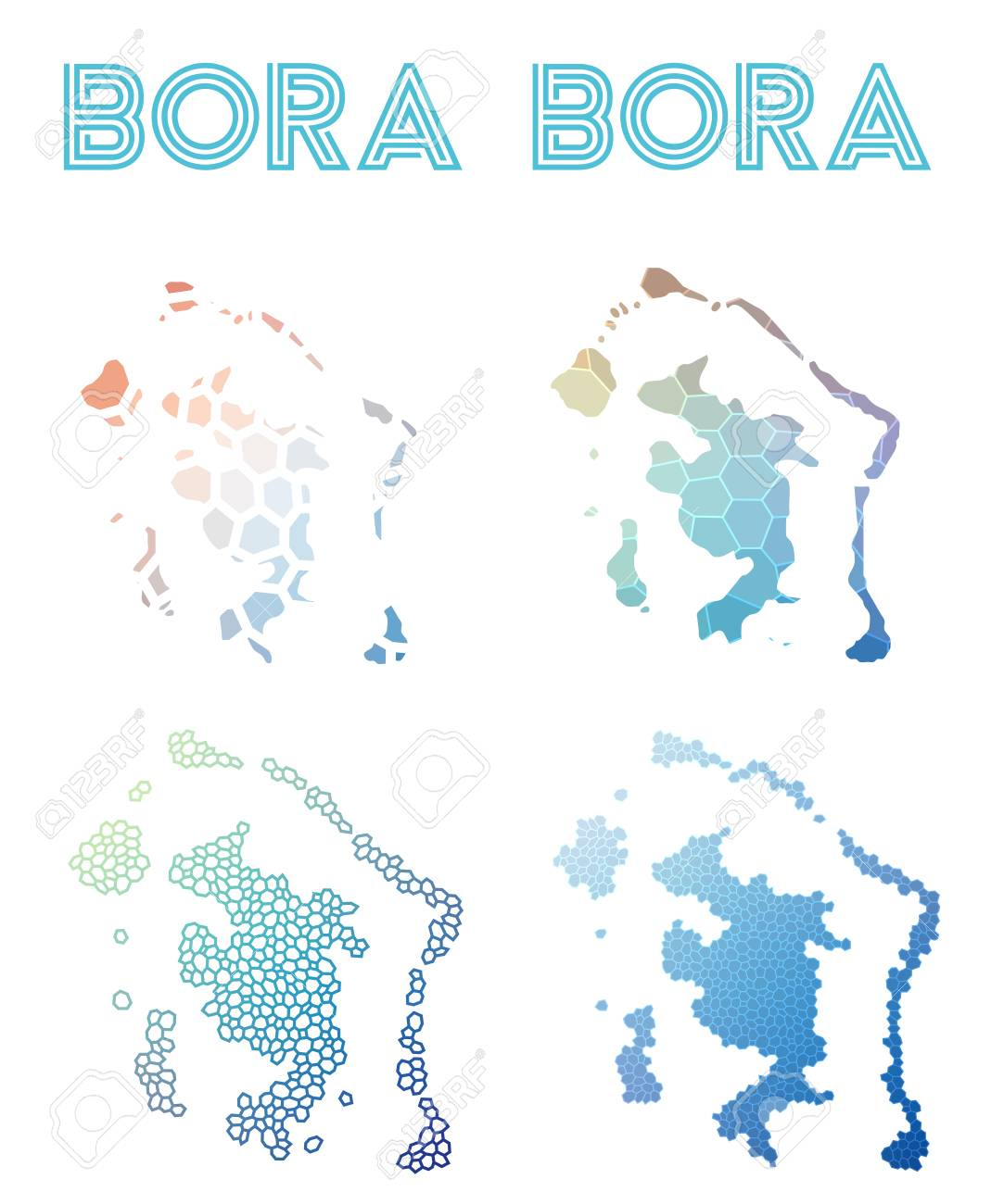 Bora Bora Polygonal Island Map Mosaic Style Maps Collection