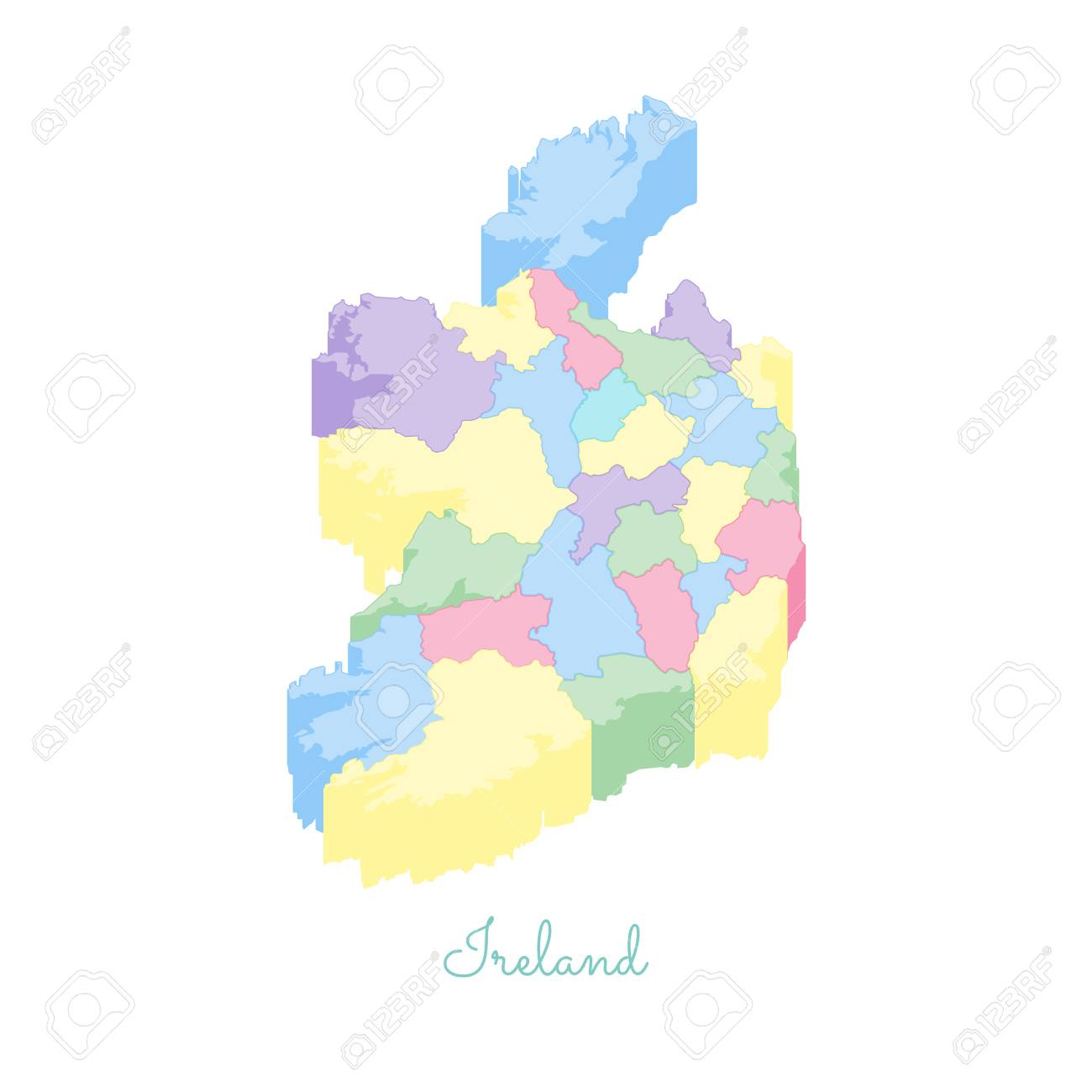 Detailed Map Of Ireland.Ireland Region Map Colorful Isometric Top View Detailed Map