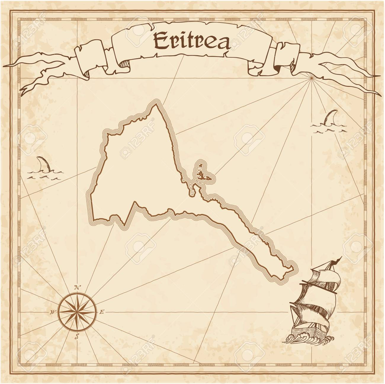 eritrea old treasure map sepia engraved template of pirate map
