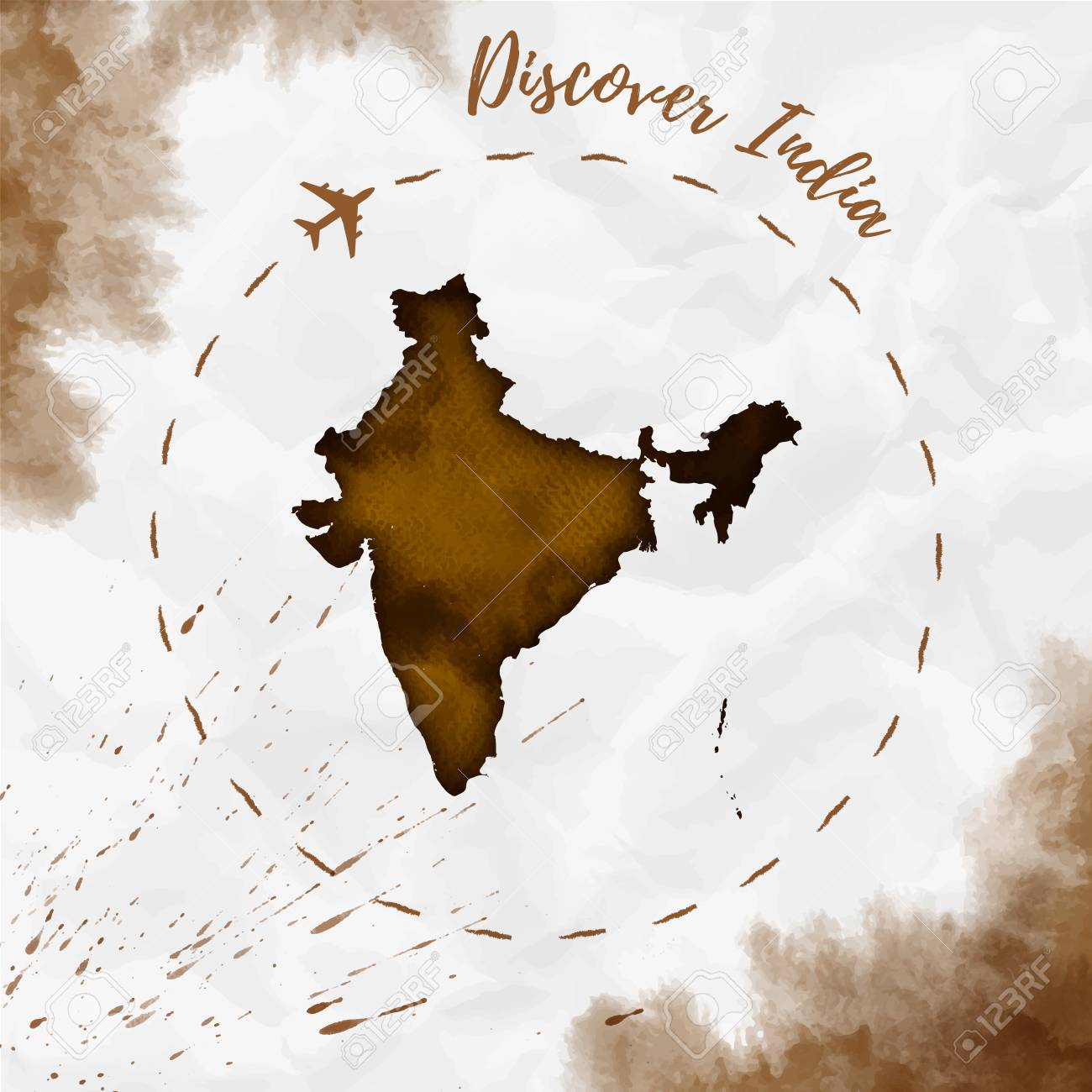 India watercolor map in sepia colors discover india poster with india watercolor map in sepia colors discover india poster with airplane trace and handpainted watercolor gumiabroncs Image collections