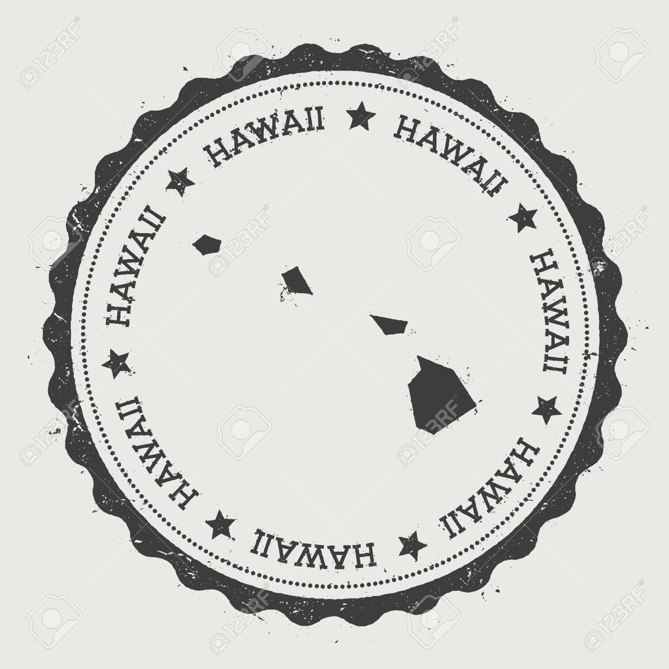 Hawaii Vector Sticker Hipster Round Rubber Stamp With US State Map Vintage Passport