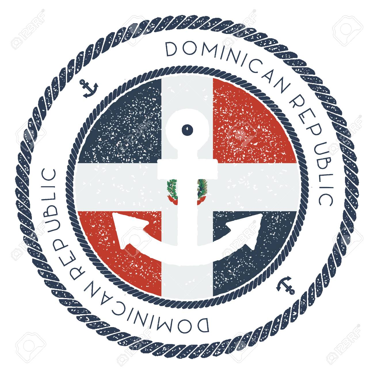 Nautical Travel Stamp With Dominican Republic Flag And Anchor