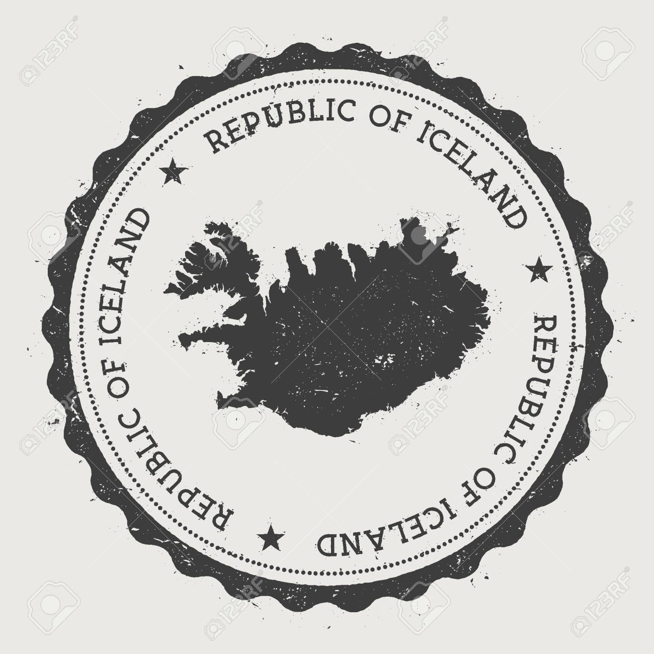 Iceland Hipster Round Rubber Stamp With Country Map Vintage Passport Circular Text And