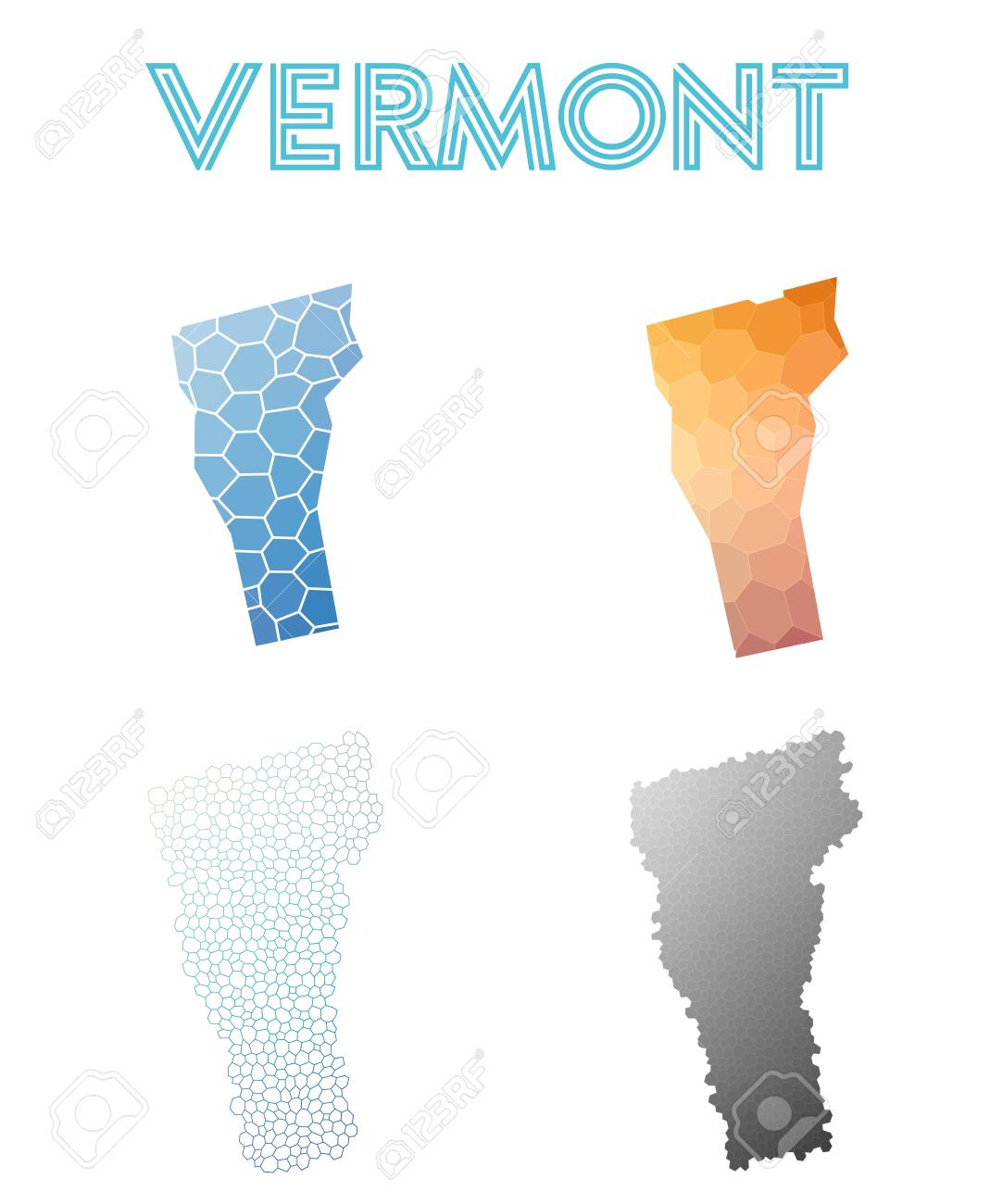 Vermont Polygonal Us State Map. Mosaic Style Maps Collection. Bright ...