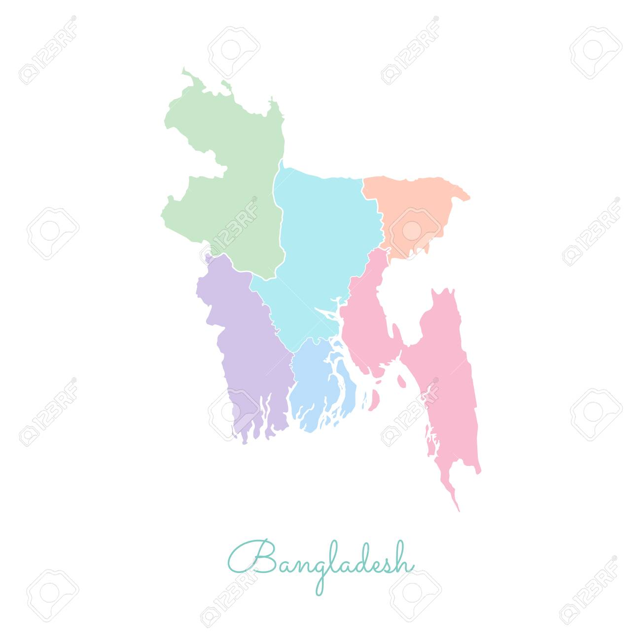 Bangladesh Region Map Colorful With White Outline Detailed