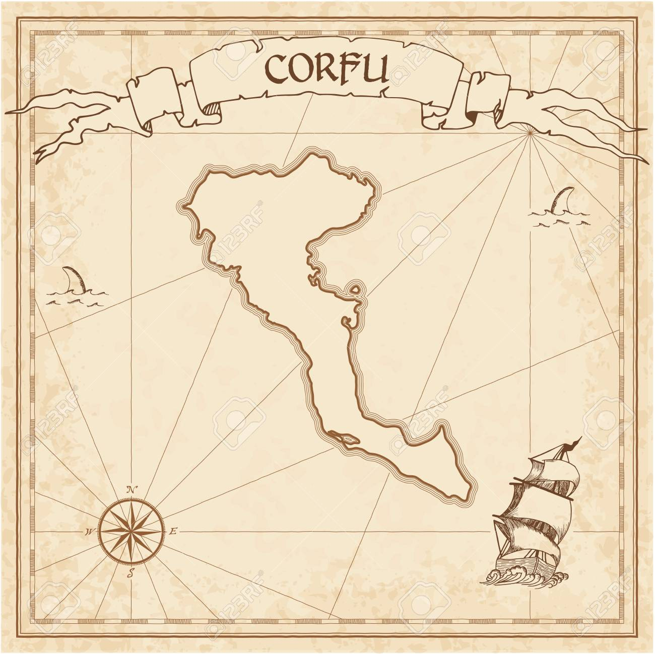 Corfu Old Treasure Map Sepia Engraved Template Of Pirate Island