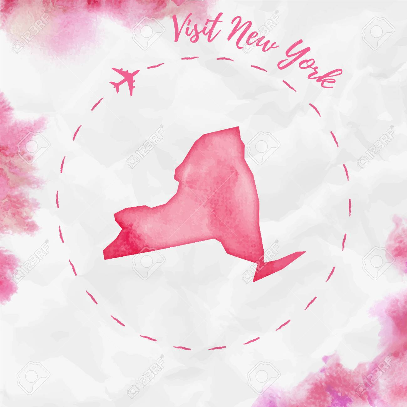 Map Of New York Poster.New York Watercolor Us State Map In Red Colors Visit New York