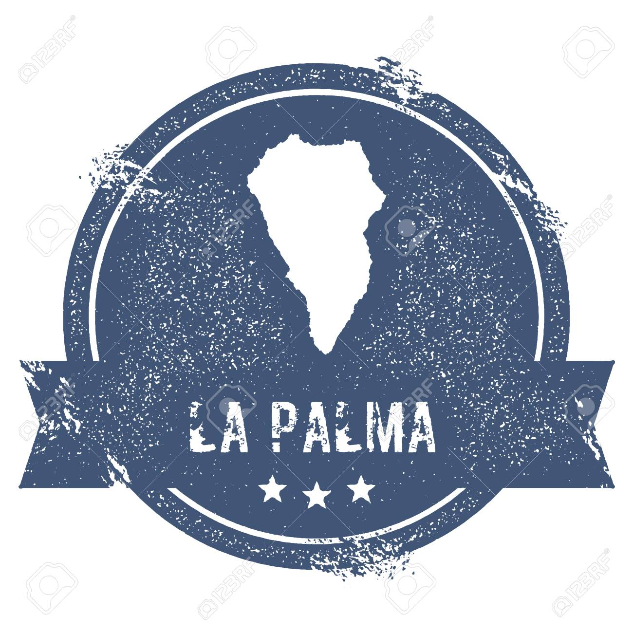 La Palma logo sign. Travel rubber stamp with the name and map..