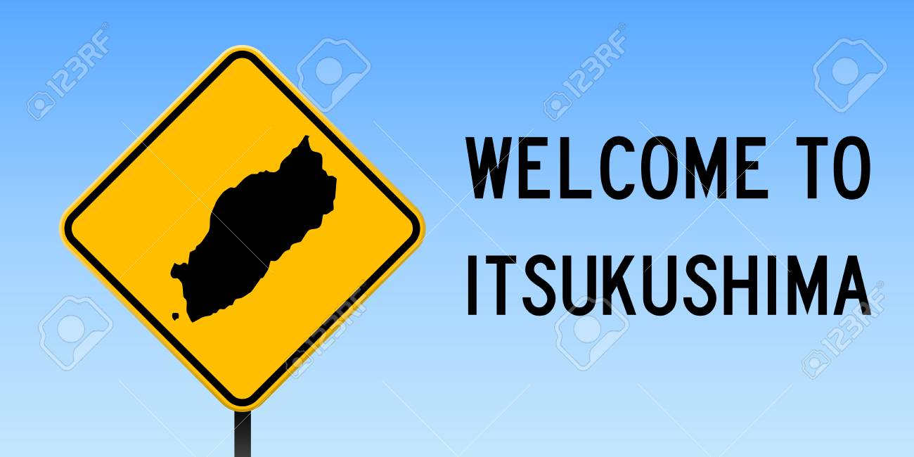Itsukushima Map On Road Sign Wide Poster With Itsukushima Island