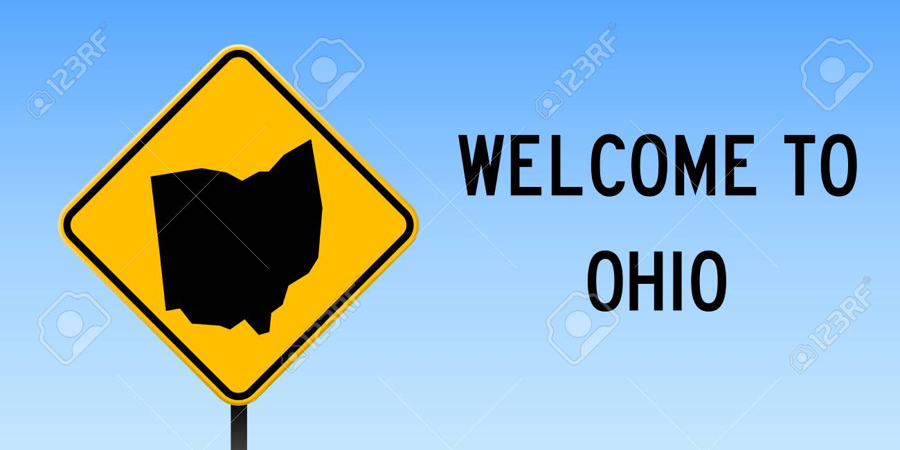 Ohio Map On Road Sign Wide Poster With Ohio Us State Map On