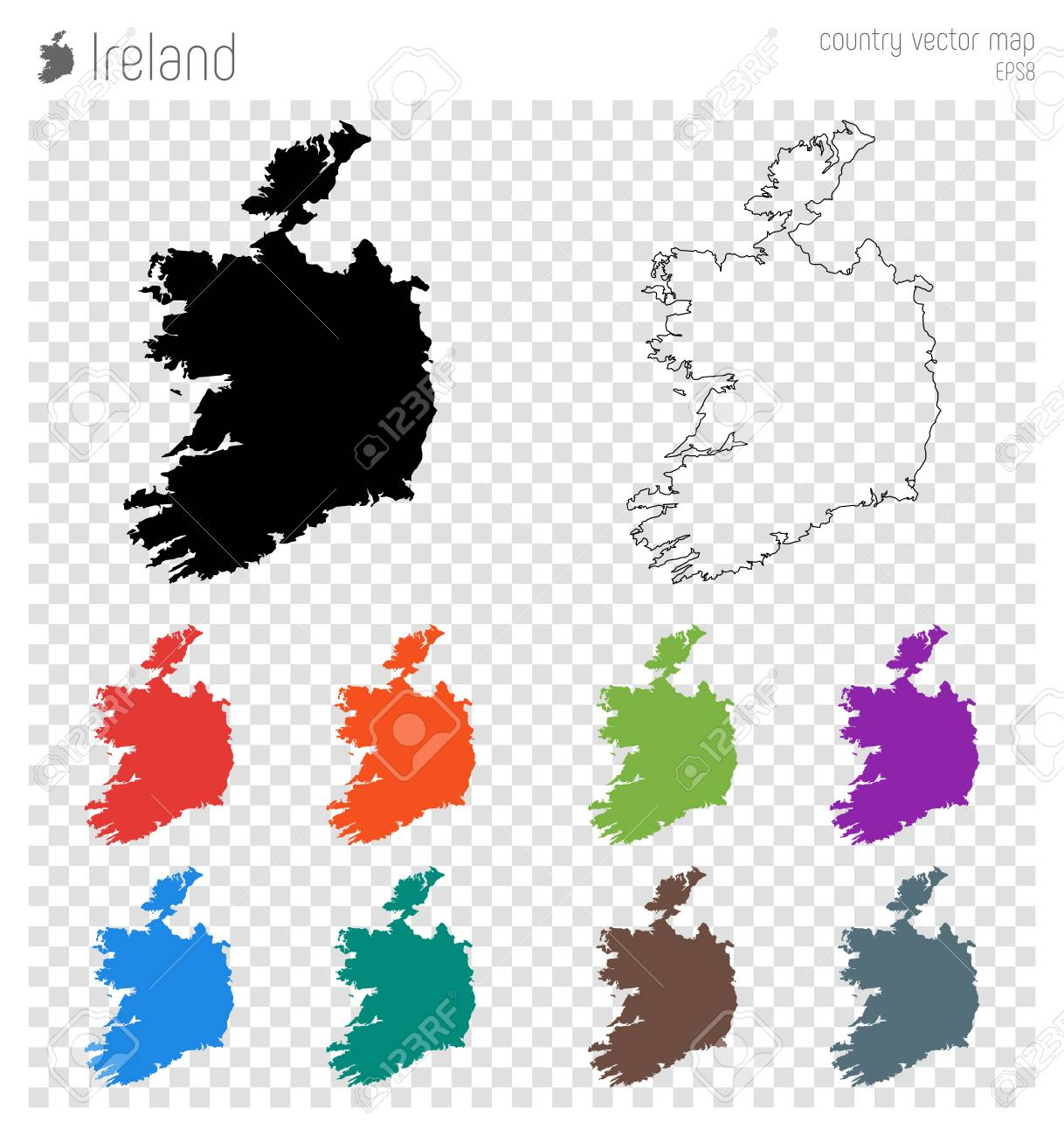 Detailed Map Of Ireland Vector.Ireland High Detailed Map Country Silhouette Icon Isolated