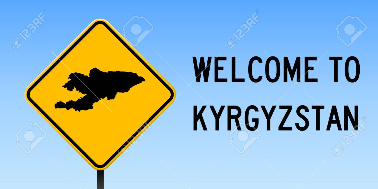Kyrgyzstan Map On Road Sign. Wide Poster With Kyrgyzstan Country ...