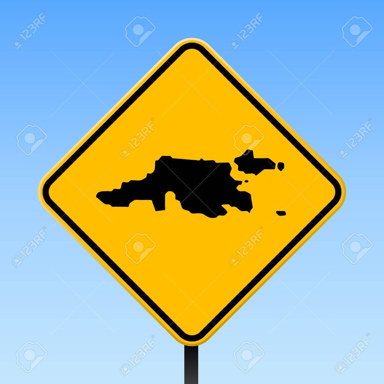 Jost Van Dyke Map On Road Sign Square Poster With Jost Van Dyke