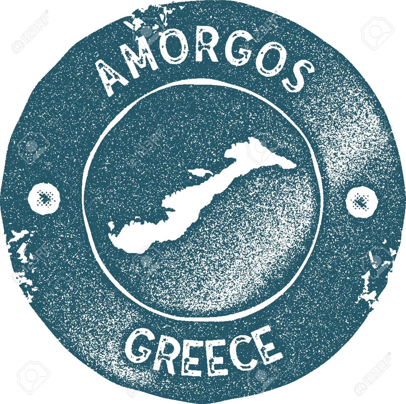Amorgos Map Vintage Stamp Retro Style Handmade Label Badge