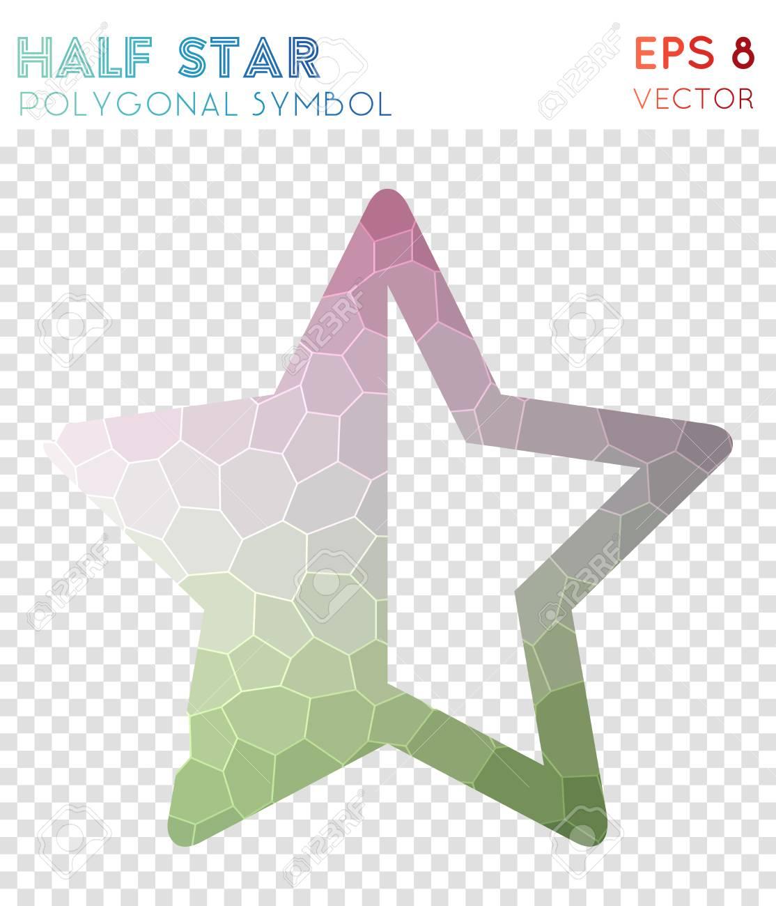 Star Half Alt Polygonal Symbol On Beauteous Mosaic Style Symbol