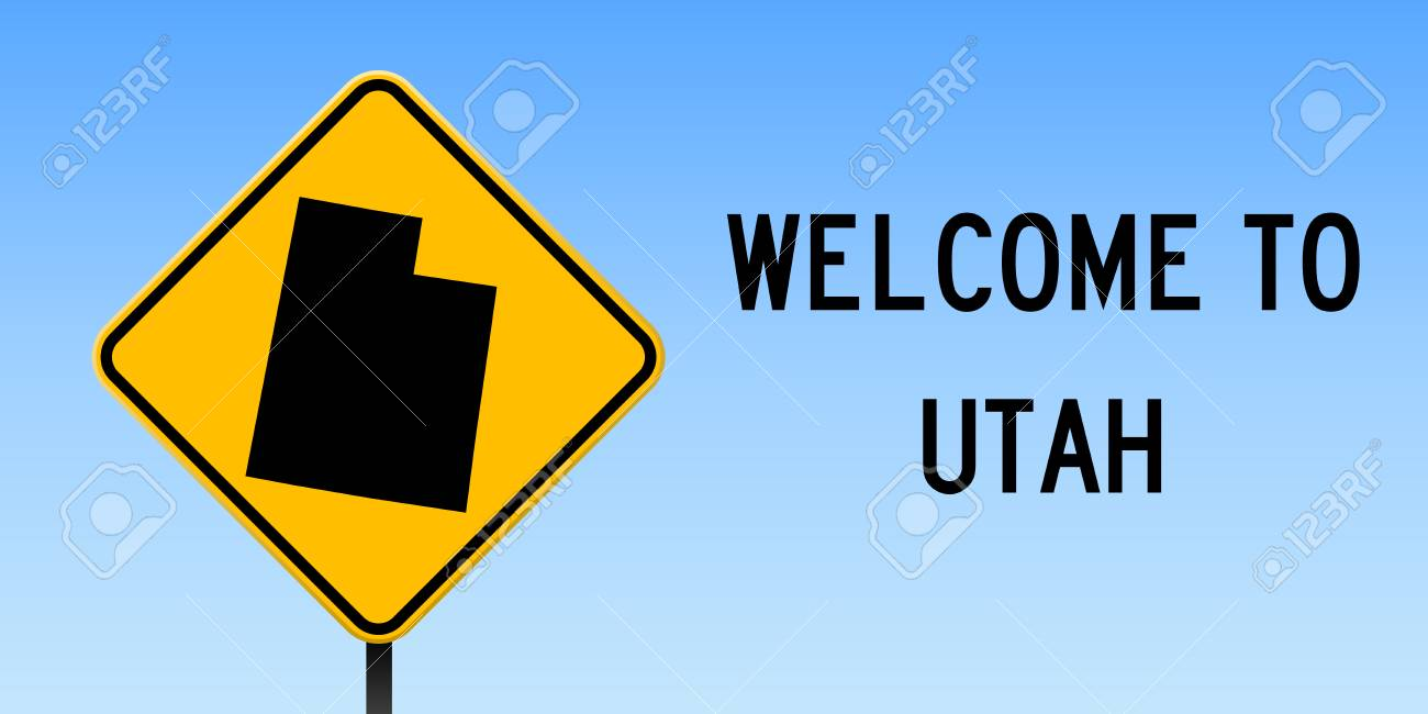 Utah Map On Road Sign Wide Poster With Utah Us State Map On