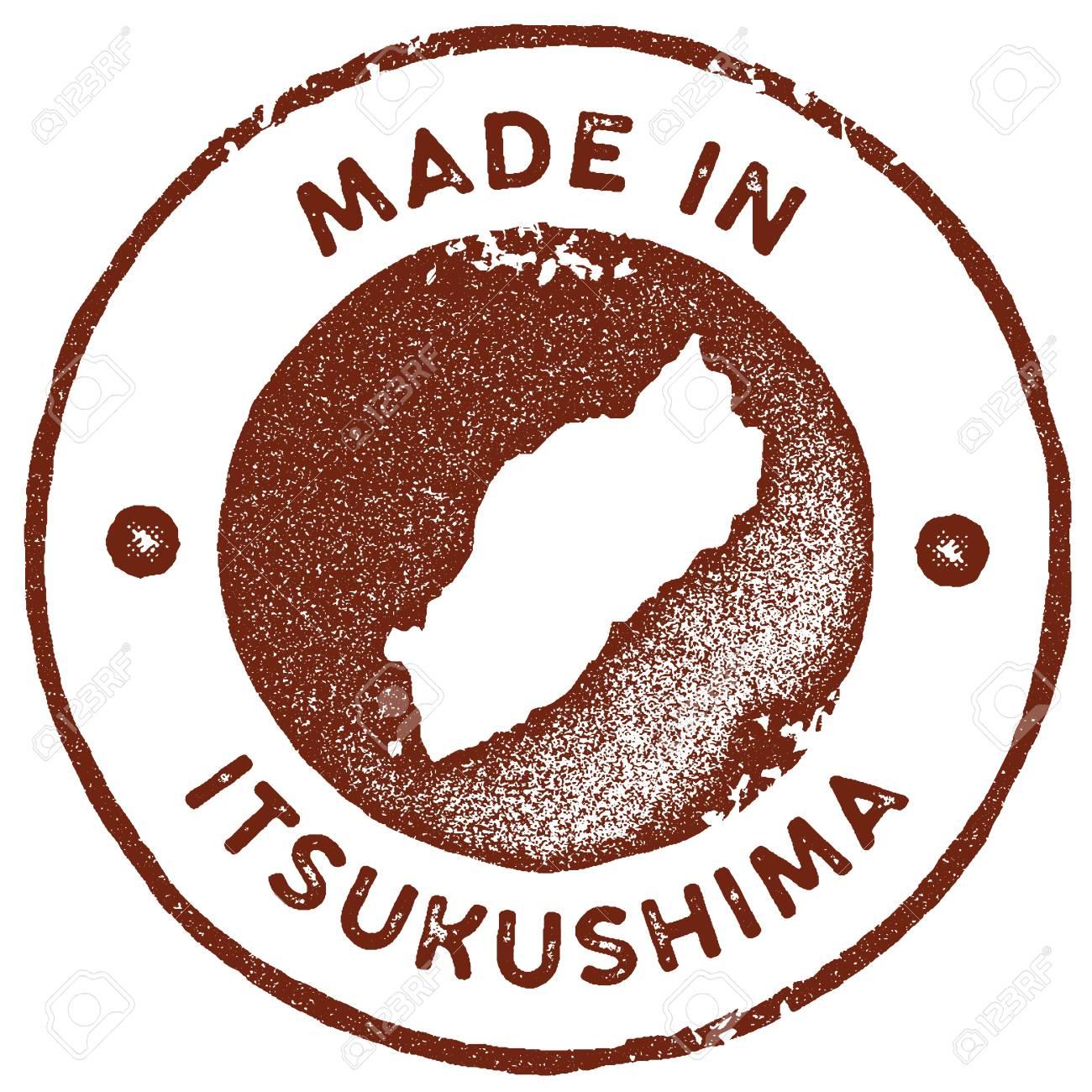 Itsukushima Map Vintage Stamp Retro Style Handmade Label Badge