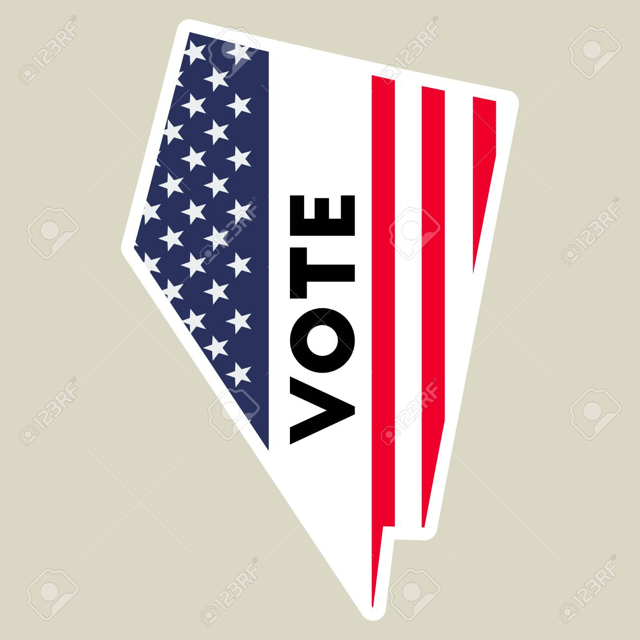 Usa Presidential Election 2016 Vote Sticker Nevada State Map - Us-map-vote-2016