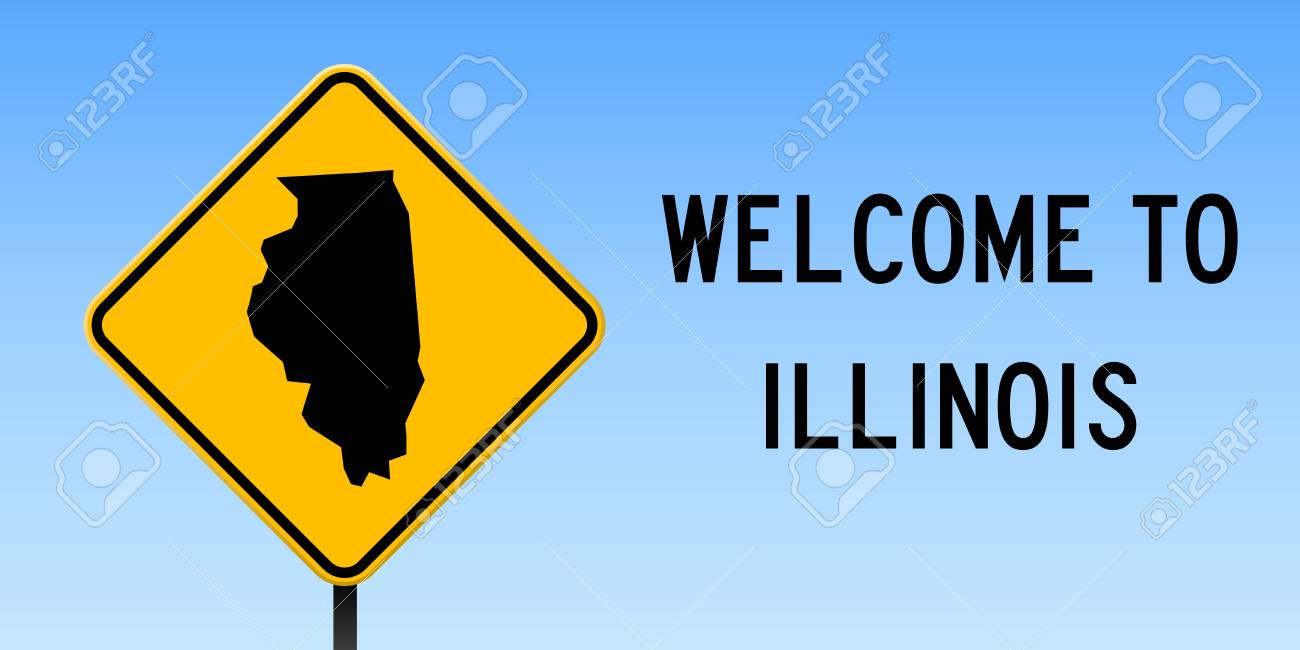 Illinois Map On Road Sign Wide Poster With Illinois Us State