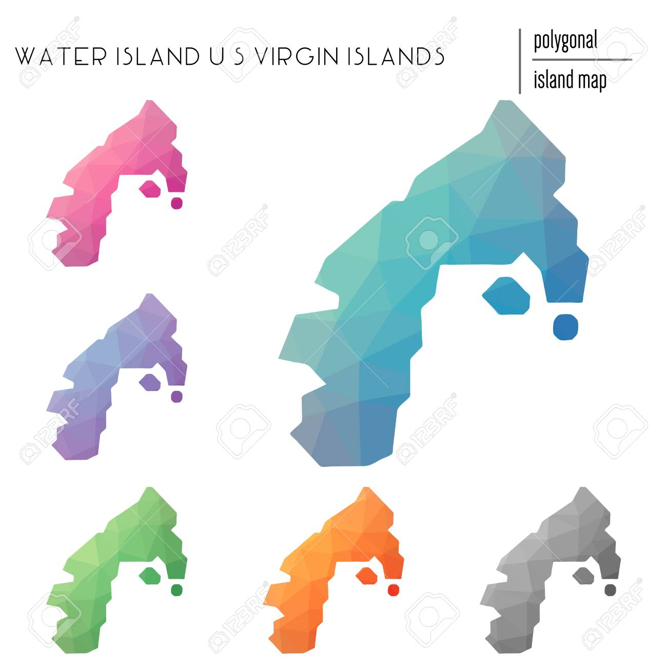 Set of vector polygonal Water Island, U.S. Virgin Islands maps..