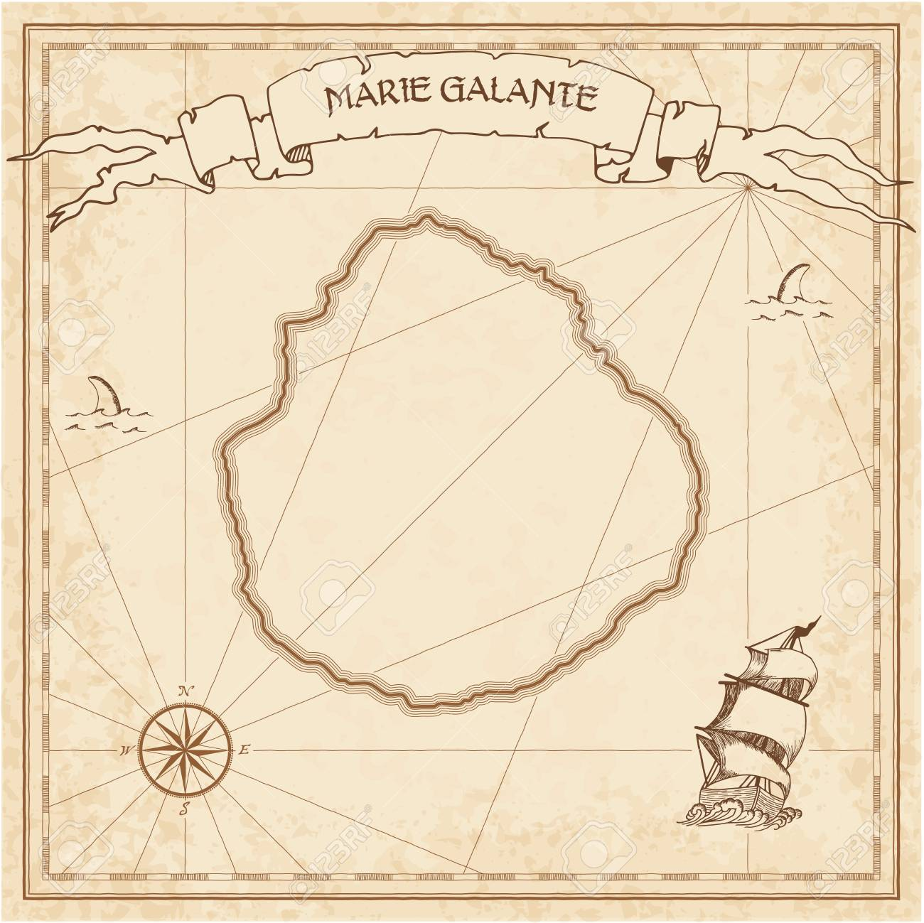 Marie Galante Old Treasure Map Template In A Brown Color Royalty