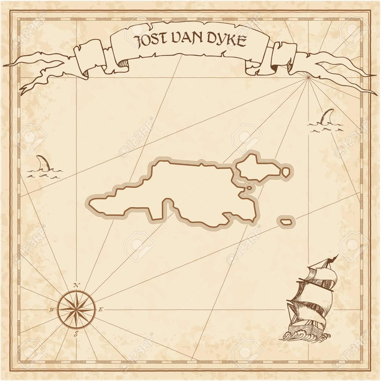 Jost Van Dyke Old Treasure Map Sepia Engraved Template Of Pirate