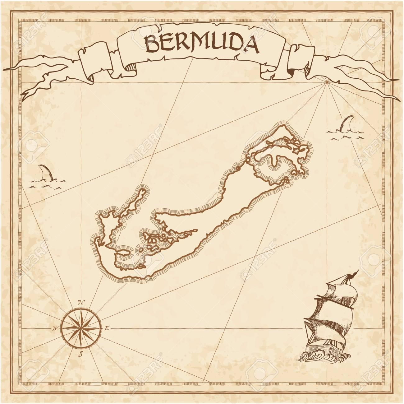 Bermuda old treasure map. Sepia engraved template of pirate island..