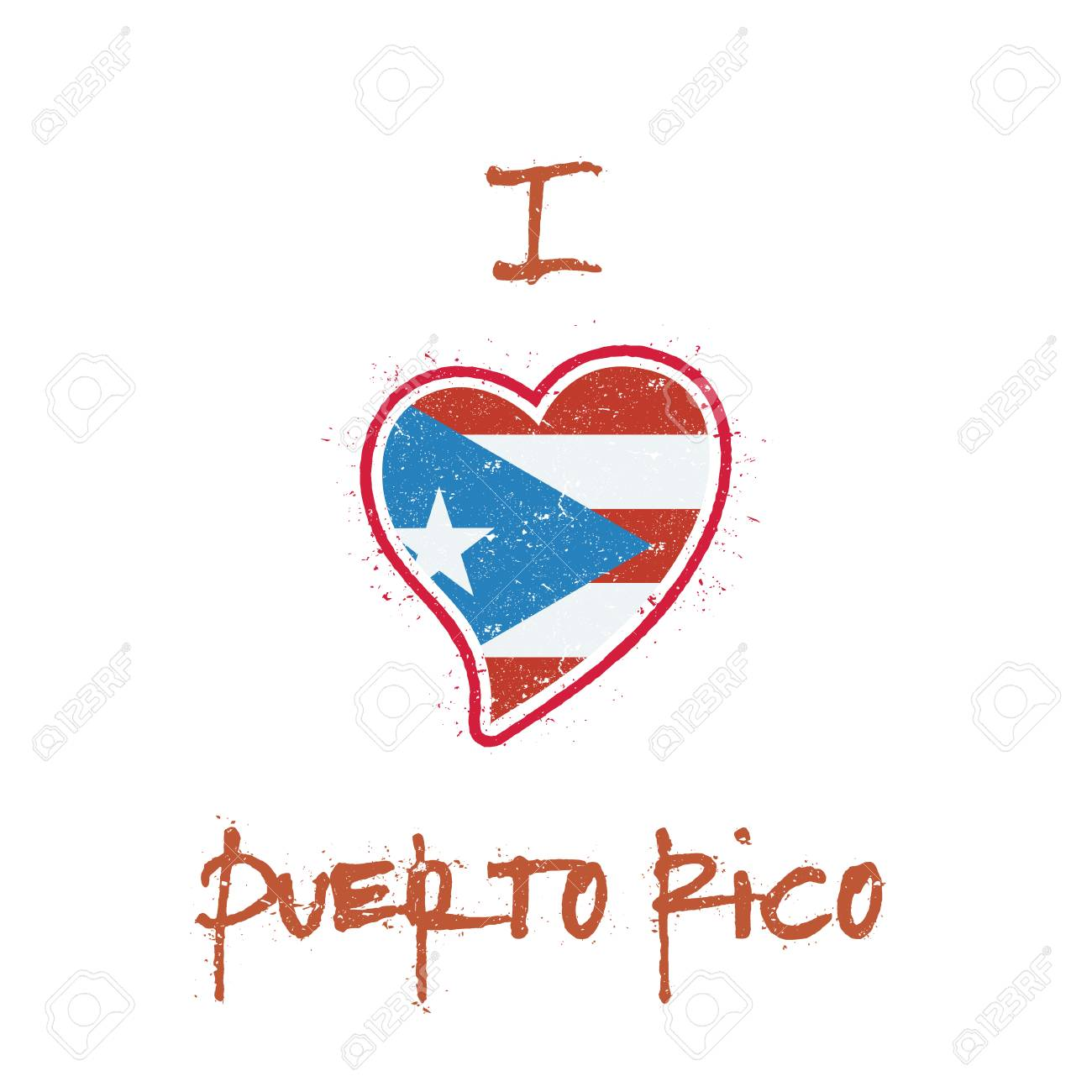 Puerto Rican Flag Patriotic T Shirt Design Heart Shaped National Rico On
