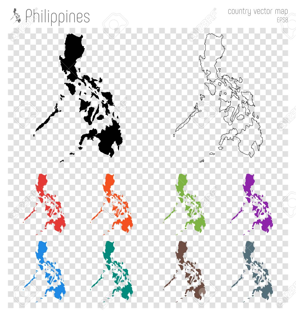 Philippines High Detailed Map Country Silhouette Icon Isolated