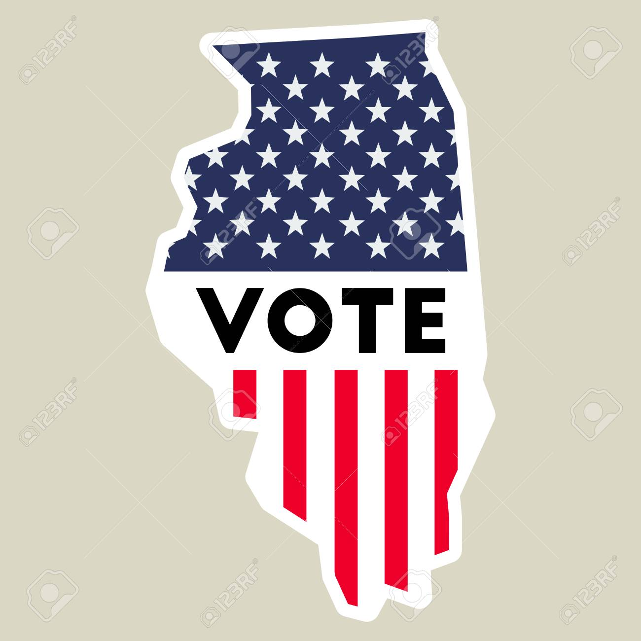 USA Presidential Election 2016 Vote Sticker. Illinois State Map ...