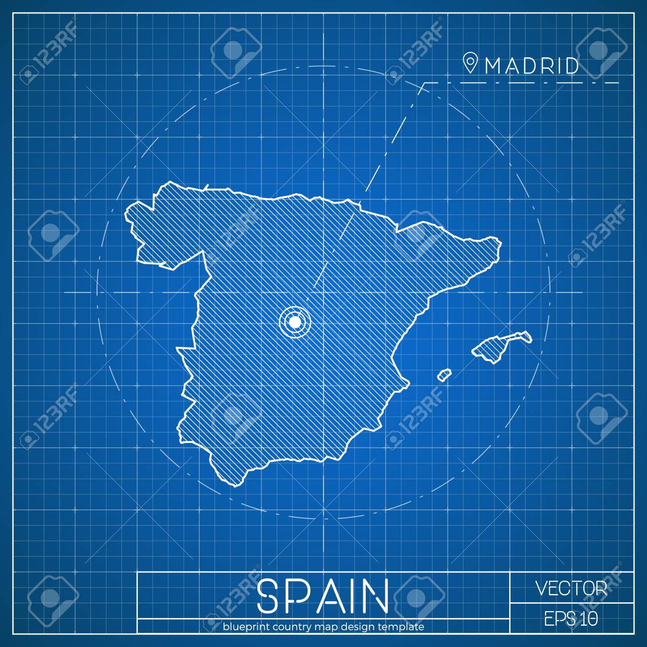 Spain blueprint map template with capital city madrid marked spain blueprint map template with capital city madrid marked on blueprint spanish map vector malvernweather Gallery