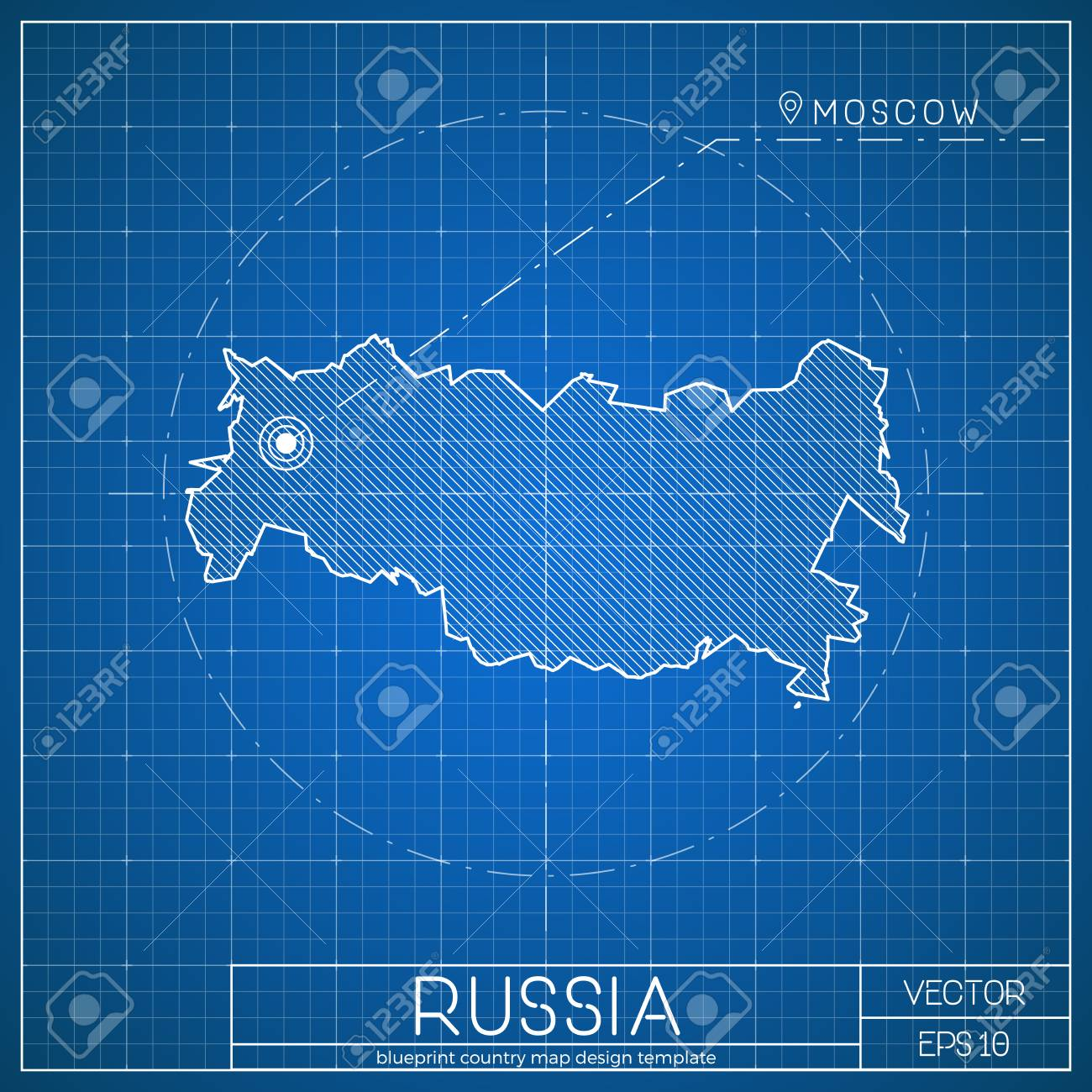 Russia blueprint map template with capital city moscow marked russia blueprint map template with capital city moscow marked on blueprint russian map vector malvernweather Images