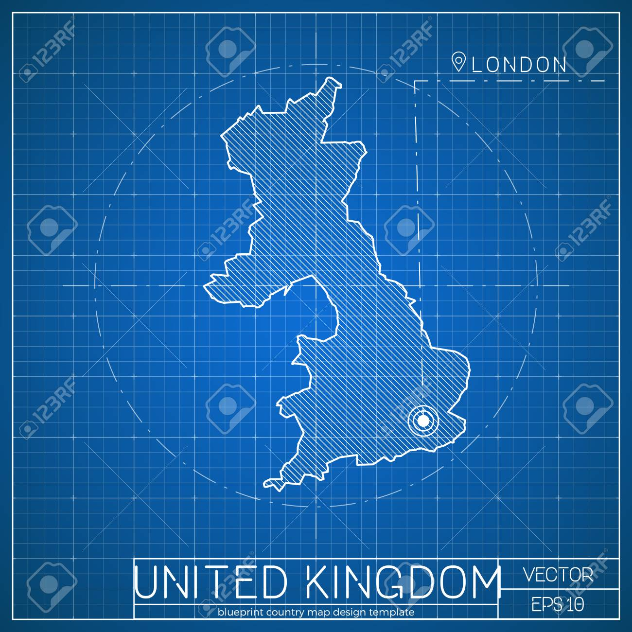 United kingdom blueprint map template with capital city london united kingdom blueprint map template with capital city london marked on blueprint british map malvernweather Images