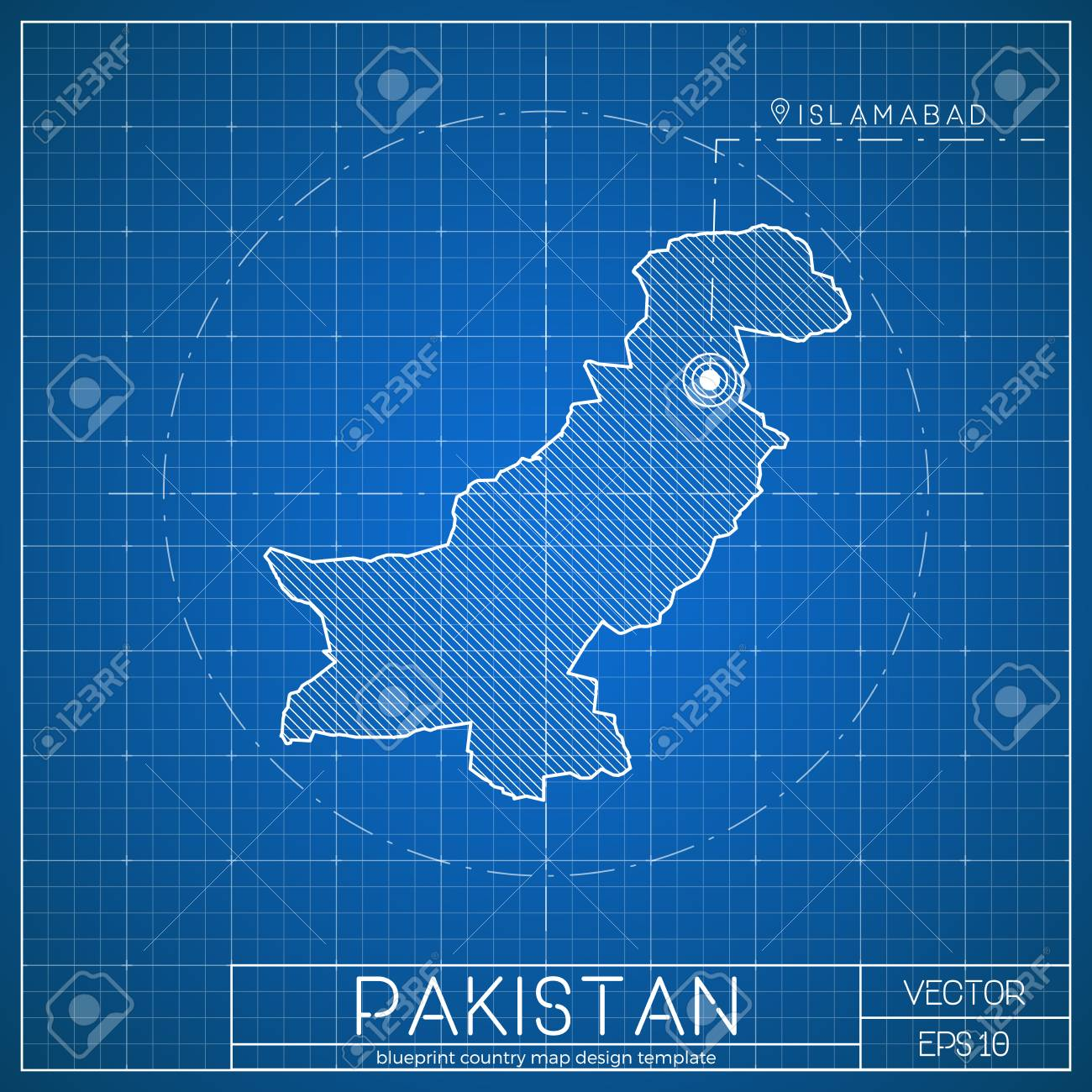 Pakistan blueprint map template with capital city islamabad pakistan blueprint map template with capital city islamabad marked on blueprint pakistani map vector malvernweather Images