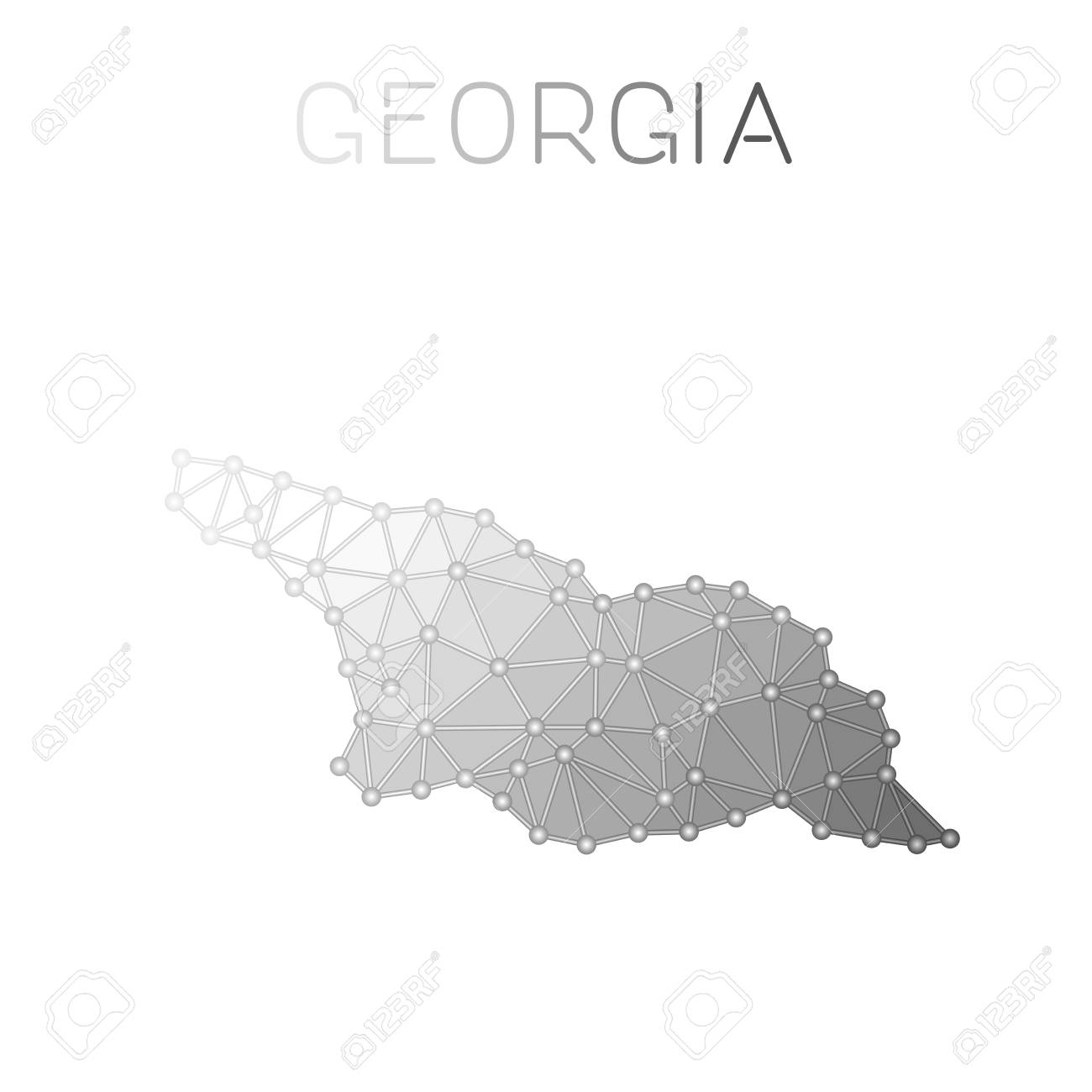 Georgia Polygonal Vector Map Molecular Structure Country Map